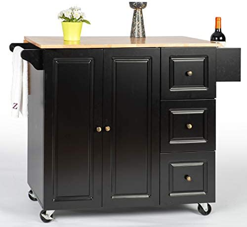 YOUNIS Kitchen Island on Wheels Rolling Kitchen Island Cart