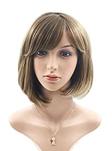 """Rabbitgoo Bob Wig with Flat Bangs Short Flaxen Brown Straight Wigs Disco Cosplay Wig Natural as Real Hair for Women 12.2"""" Three Colors Available"""