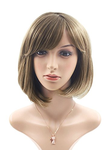 Rabbitgoo Bob Wig with Flat Bangs Short Flaxen Brown Straight Wigs Disco Cosplay Wig Natural as Real Hair for Women 12.2