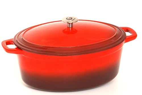 Guro Enameled Cast Iron Oval Dutch Oven Casserole, Red , 7.4QT by GURO