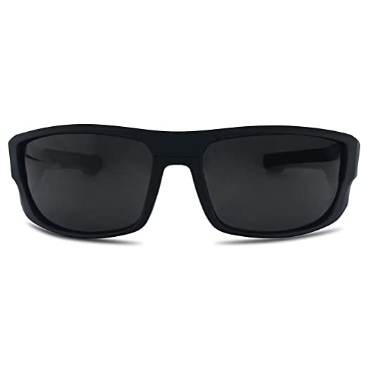 a40c715bbc Amazon.com  SunglassUP - Wrap Around Dark Black Sports Uv400 Sunglasses   Clothing