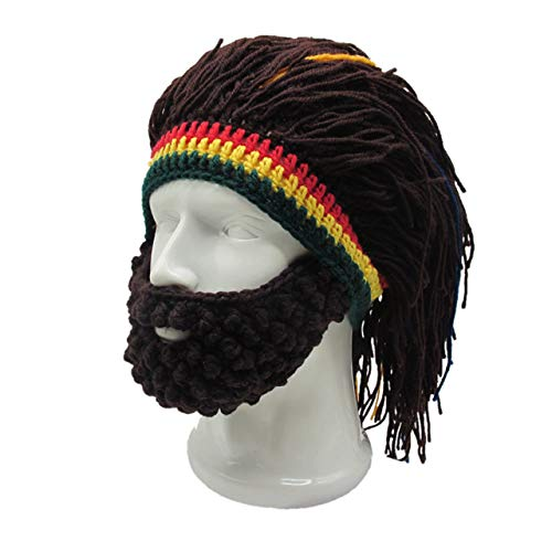 Jamaican Wig (Faleto Funny Knit Beanie Beard Hat Rasta Hat with Dreadlocks Handmade Wig Fancy Halloween Caps,Brown)