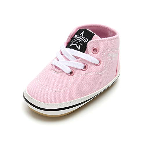 BENHERO Baby Boys Girls Canvas Toddler Sneaker Anti-Slip First Walkers Candy Shoes 0-24 Months 12 Colors (6-12 Months M US Infant), Ee-Pink]()