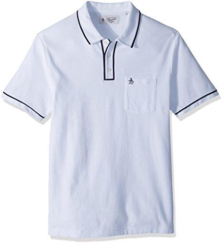 Original Penguin Men's Earl Pique Polo Shirt, Bright White/Dark Sapphire, Extra Extra Large (White Pique Polo)