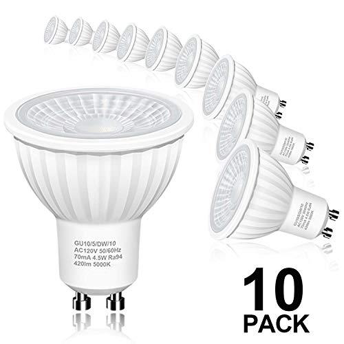 Hizashi Flicker-Free GU10 LED Bulbs, 94 CRI, 50W Halogen Bulb Equivalent, 4.5W 420LM LED Spot Light, 5000K Daylight White LED Light Bulbs Recessed Lighting, Track Lighting, Non Dimmable, 10Pack