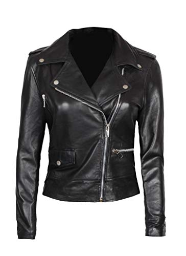fjackets Lambskin Leather Jacket for Women - Genuine Black Asymmetrical Leather Motorcycle Jacket | [1300184] Amber L