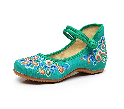 Lazutom Cute Chinese Style Women Embroidery Mary Jane Casual Walking Shoes Green YQVubEOUoT