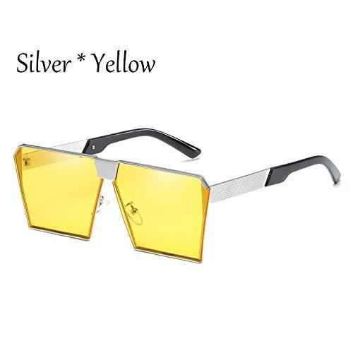 Silver De G Silver C2 Uv356 Estilos Unas Mujer Damas Tonos Yellow Gafas 17 TIANLIANG04 De C14 Sol Hombre Cuadradas Enormes Gafas Vintage Silver Sol zUqSaH