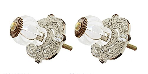 (VIP Pewter and Rhinestone Victorian Drawer Pull with Acrylic Knob (2))