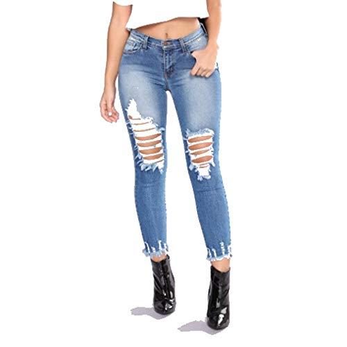 Jeans De Apretados Las Agujeros Moda Nueva Algodón Mujeres Blue DAMENGXIANG Estiramiento 64nOPwxOq