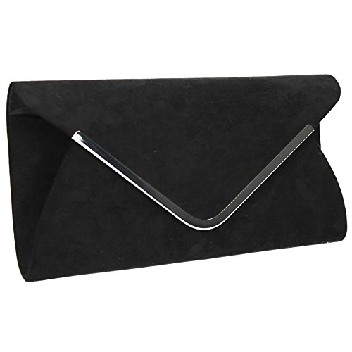 Faux Clutch Prom Evening Womens Bag Charcoal SWANKYSWANS Karlie Black Party Suede TwFIOx