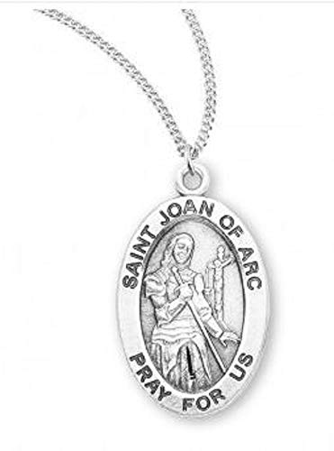 (Catholic Necklace, Sterling Silver Oval Medal Necklace Patron Saint St. Joan of Arc with 18