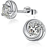 """Sterling Silver Stud Earrings Womens, 925 Sterling Silver Cubic Zirconia J.Rosée Jewellery """"Roses In the Morning"""" Best Valentines Gift for Women with Gift Packed"""