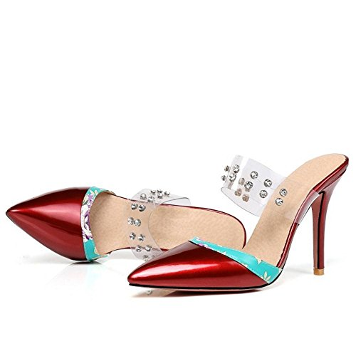 Mules Bout Sandales Taoffen Red Ferm¨¦ Talons Femmes ZqApxOwPF