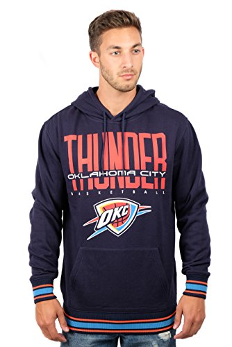 Oklahoma Pullover (UNK NBA Men's Oklahoma City Thunder Fleece Hoodie Pullover Sweatshirt Focused Stripe, Large, Blue)