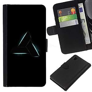 Sony Xperia Z1 / L39h / C6902 Modelo colorido cuero carpeta tirón caso cubierta piel Holster Funda protección - Triangle Art Shape Symbol Sign Black