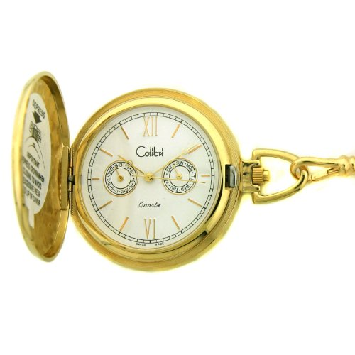Colibri Swiss Pocket Watch Gold Tone Day Date PWS095209S