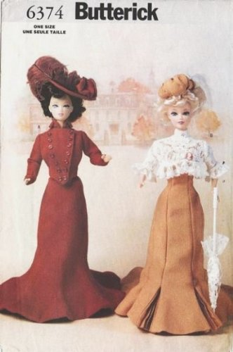 Butterick Fashion - Butterick 6374 Delineator Victorian Style Gowns for Barbie & OTHER 11.5