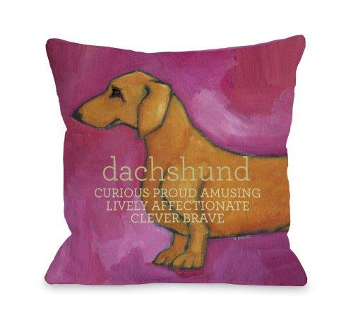 One Bella Casa Dachshund Pink Pillow, 16 by 16-Inch
