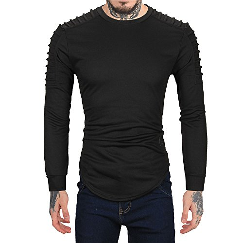 Casual Pullover Hoodie,MILIMIEYIK Blousess Mens Kilt Shirts Shirt Long Sleeve lace-up Tshirt Men's Outerwear top Blouses -