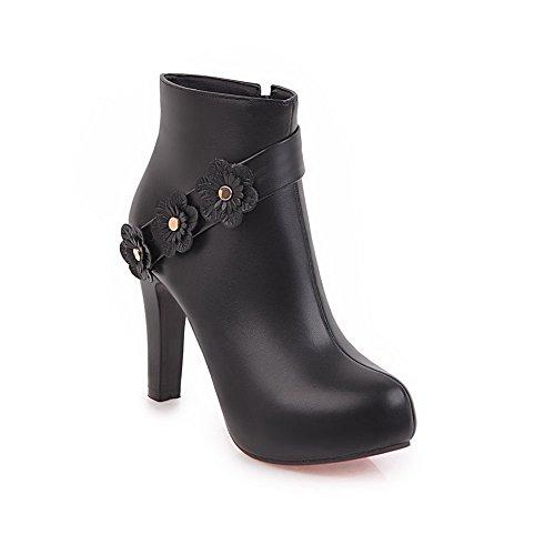 Ankle Urethane Black SXC02563 AdeeSu High Floral High Zip Boots Heel Womens 7BxXq0xCF