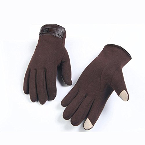 Gloves,toraway Winter Mens Full Finger Smartphone Touch Screen Cashmere Gloves (Brown) by Toraway (Image #3)