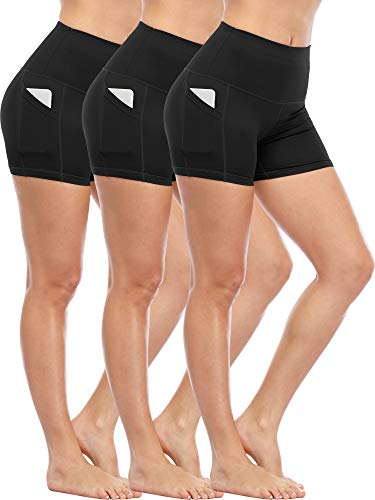 Cadmus Women's Tummy Control Workout Running Short Out Pocket,3 Pack,1016,Black & Black & ()