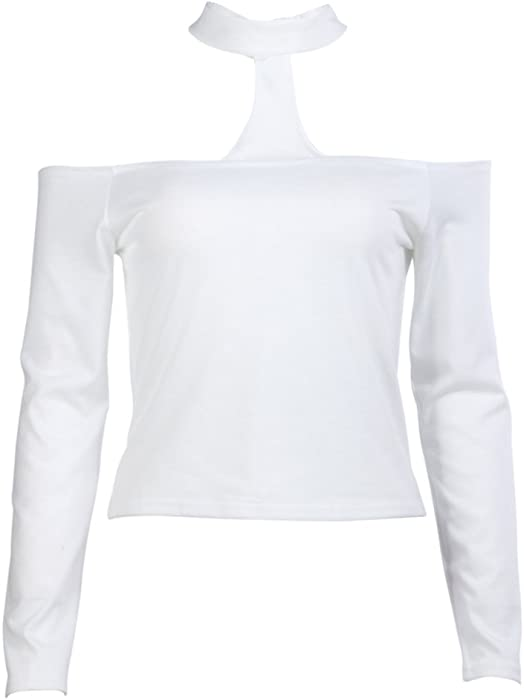 f83260dcb1a86 Amazon.com  Sexy Off The Shoulder Crop Top Tank Long Sleeve Blouse T Shirt  (White)(M)  Clothing