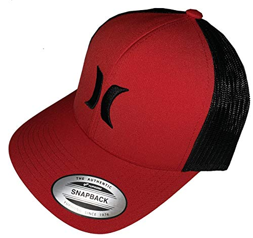 Hurley Men's Mesh Trucker Adjustable Snapback Del Mar Baseball Cap Hat (Red/Black) (Hat Embroidered Hurley)