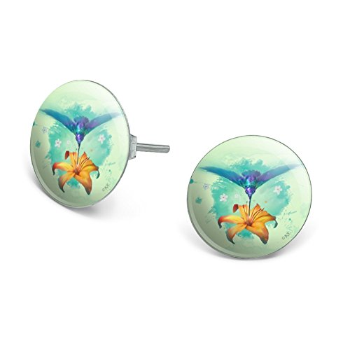 GRAPHICS & MORE Hummingbird and Tiger Lily Flower Novelty Silver Plated Stud -