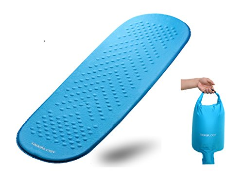Self Inflating Sleeping Pad, Camping Mattress in Air Pump Dry Sack Bag - Compact Lightweight Camp Mat, Inflatable Roll Up Foam Bed as Tent Pads, Hammock Mats for Travel, Hiking, Sleep Gear (Teal blue)