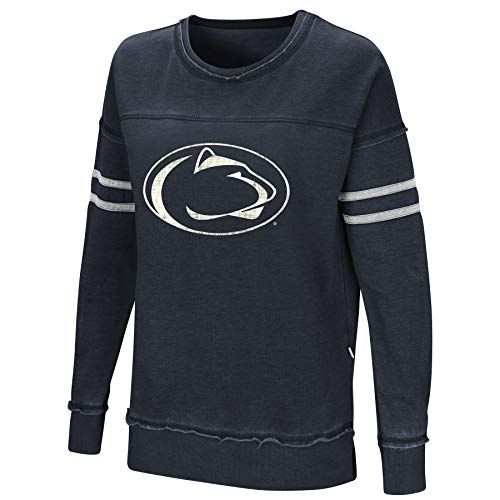 Colosseum Women's NCAA-Home Game- Fleece Retro Vintage Pullover Sweatshirt-Penn State Nittany Lions-Dark Blue-Medium ()
