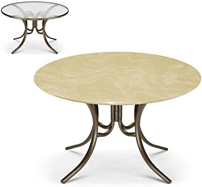 Bistro Round Fitted Table Cover for Glass Tables up to 35 Dia. for Round Tables and Patio Tables Color Cream