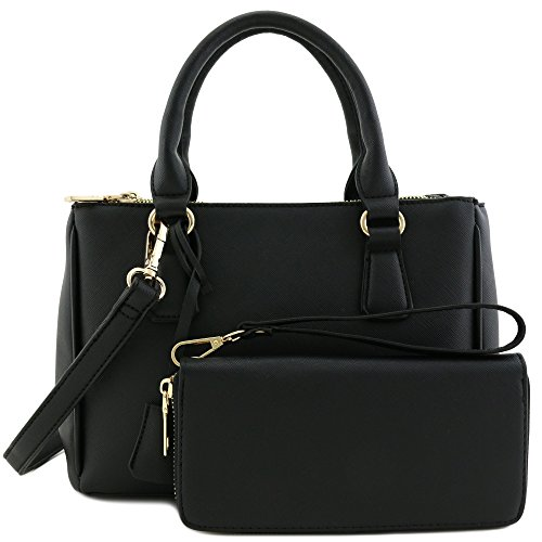Satchel Wallet Triple Classic Set Handle Around Zip Top Zip Black Small with 2pcs Bag S0RaqF