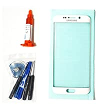 (md0410) OEM White Pearl Front Outer Lens Glass Screen Replacement For Samsung Galaxy S6 EDGE G925 + Tools + 5ml UV LOCA Liquid Glue Adhesive (LCD and Digitizer not included)