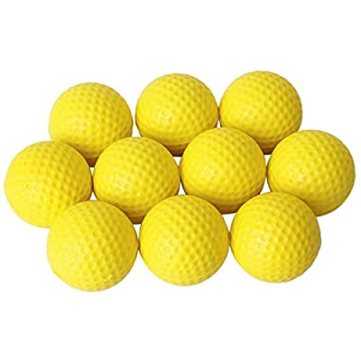 VORCOOL 10pcs Soft Elastic Indoor Practice PU Golf Balls Training Golf Balls (Yellow)