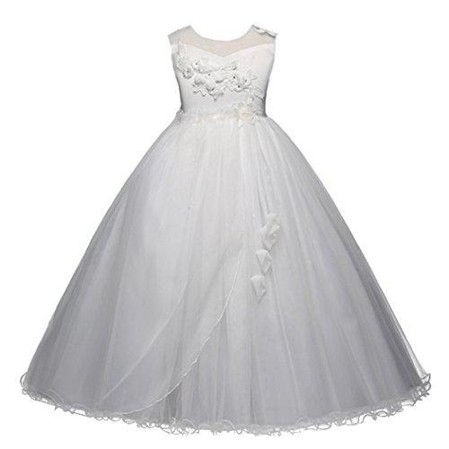 HarveyBridal A-line Floor Length Tulle Lace Girl's Formal Prom Dresses (Ivory, 11-12Y)