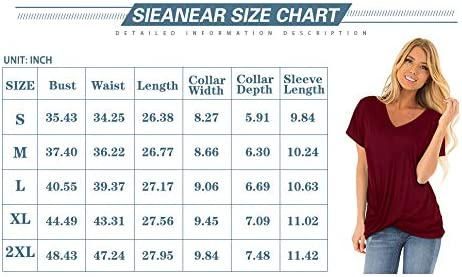 Sieanear Womens T Shirts Short Sleeve V Neck Solid Color Twist Knotted Summer Casual Tops