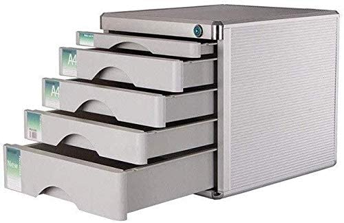 File cabinet File Cabinets Lockable Aluminum Alloy Data Office Storage Drawer Confidentiality Lock Desktop Organizer Comfortable Pull-in Design Office Supplies Color : Silver