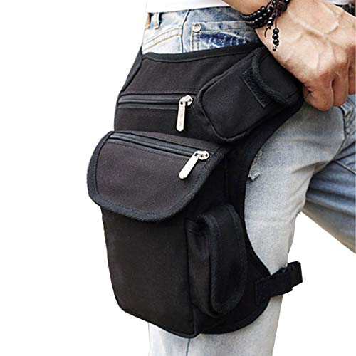 - Canvas Outdoor Travel Waist Pack Thigh Bag for Men Women Tactical Military Motorcycle Bike Multi-pocket Drop Leg Bags Pouch Black