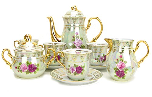Euro Porcelain (Euro Porcelain 17-Pc. Vintage Pink & Red Roses Tea Cup Coffee Set, White Pearlescent Floral Pattern with 24K Gold-Plated, Complete Service for 6, Original Czech Tableware)