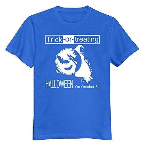 Guys56tvlf Men's 100% Cotton Happy Halloween Day O Neck T-Shirt RoyalBlue US Size XXL -