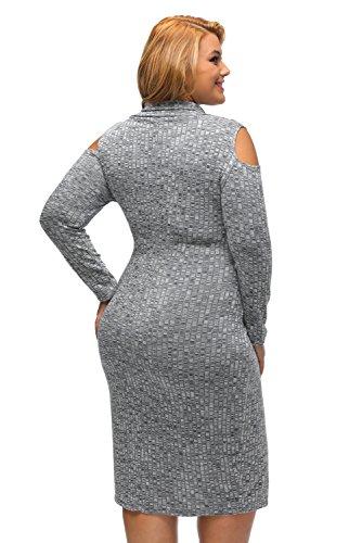 NEW Femme de plus Taille côtelé Gris froid bandoulière Pull Robe Casual Soirée porter Taille XXL UK 16EU 44