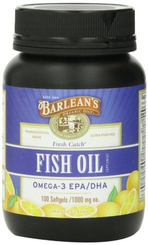 Barlean's Organic Oils Fresh Catch Fish Oil, 100 Softgels /1000 mg, Orange