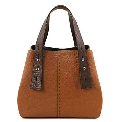 En Cognac Leather Tlbag Shopping Piel Bolso Rojo Tuscany SAI7gxwqx
