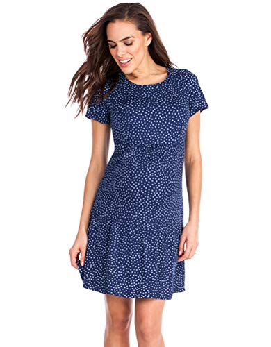 Seraphine Dotted Babydoll Maternity Dress Blue