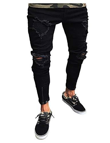 De Ocasionales Desgastados Pantalones De Ropa Vaqueros Pantalones Mezclilla Vaqueros Pantalones Vintage Pantalones Mezclilla Colour Flacos Estiramientos Los De ADELINA Negros Hombres wfgq8TT