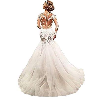 Chady Elegant Lace Mermaid Wedding Dresses for Bride 2018 Long Sleeves Beaded Crew Neck Luxury Wedding Dresses