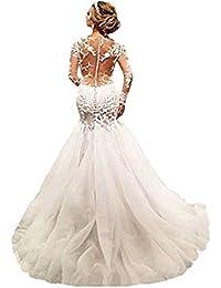 Elegant Lace Mermaid Wedding Dresses for Bride 2018 Long Sleeves Beaded Crew Neck Luxury Wedding Dresses