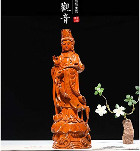 Kiartten Wooden Buddha Statue - Special Offer-30CM Tall-Home Spiritual Protection Bless Family # Handmade Yellow pear Wood Carving Lotus Guanyin Buddha Statue